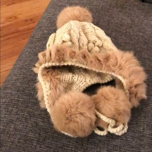 Knitted hat with real fur